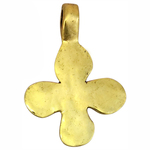 Gold Hammered Cross Pendant in Pewter with Large Bale