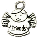 Silver Angel Charm for Friends in Pewter