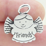 Silver Friends Angel Charm in Pewter