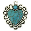 Turquoise Heart Pendant in Silver Pewter with Southwest Design