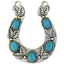 Turquoise Horseshoe Pendant in Silver Pewter