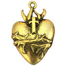 Gold Sacred Heart Pendant in Pewter