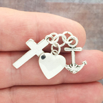 Faith Hope and Love Charm Silver Pewter