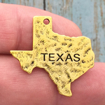 Texas State Charm Gold Pewter