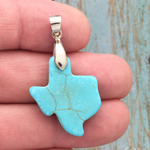 Stone Texas Charm with Silver Pewter Bale Turquoise