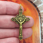 Crucifix Cross Pendant Gold Pewter