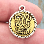 Crown Charm Silver and Gold Pewter