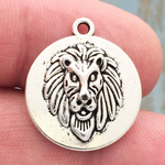 Silver Lion Head Charm Pewter