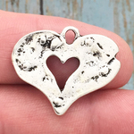 Silver Hammered Heart Pendant Pewter
