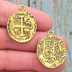 Spanish Coin Pendant Gold Pewter