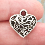 Filigree Heart Charm Silver Pewter