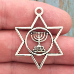 Menorah Star of David Pendant Silver Pewter