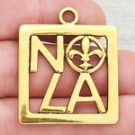 New Orleans Charm NOLA Gold Pewter