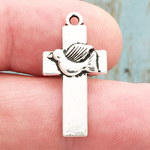 Holy Spirit Cross Charm Silver Pewter