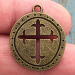 Disk Cutout Fleur de Lis Cross Charm in Antique Bronze Pewter
