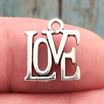 Love Word Charm Silver Pewter