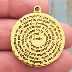 Spanish Prayer Pendant Disk Gold Pewter