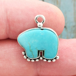 Turquoise Bear Pendant Silver Pewter