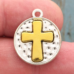 Gold Cross Disk Pendant Pewter