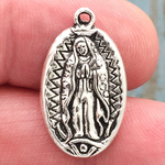 Our Lady of Guadalupe Charm Small Silver Pewter