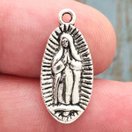 Our Lady of Guadalupe Charm Silver Pewter Small
