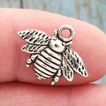 Silver Honey Bee Charm in Pewter