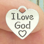I Love God Charm Silver Pewter