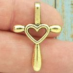 Heart Cross Charm Gold Pewter