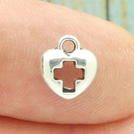 Tiny Heart Cross Charm Silver Pewter