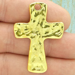 Hammered Gold Cross Charm in Pewter