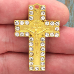 Gold St Benedict Crucifix Pewter with Crystal