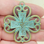 Large Gold Cross Pendant in Pewter with Turquoise Patina