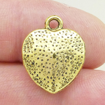 Hammered Heart Charm Gold Pewter