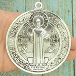 St Benedict Medal Door Ornament Silver Pewter Extra Large
