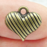 Bronze Puffed Heart Charm in Pewter Small