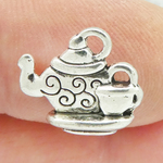 Silver Teapot Charm Small in Pewter