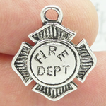 Firefighter Badge Charm Silver Pewter