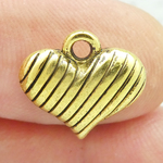 Gold Puffed Heart Charm in Pewter Small