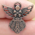 Filigree Angel Charm in Copper Pewter