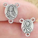 Sacred Heart Wholesale Rosary Making Parts in Silver Pewter