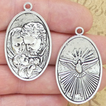 Holy Family Medals in Bulk in Silver Pewter Large