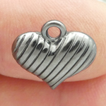 Puffed Heart Charm in Gun Metal Pewter Small