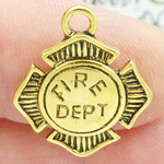 Fireman Badge Charm Gold Pewter