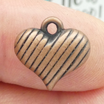 Puffed Heart Charm in Copper Pewter Small
