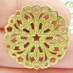 Round Ornate Intertwined Charm in Antique Gold Pewter