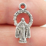 Blessed Mother Mary Charm in Silver Pewter Small