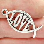 Love Charm Fish Symbol in Silver Pewter