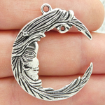 Crescent Moon Pendant Silver Pewter Large