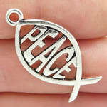 Peace Charm Fish Symbol in Silver Pewter