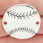 Baseball Bracelet Connector in Silver Pewter